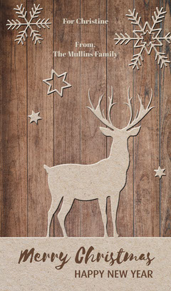 Grey Reindeer Christmas Gift Tag Gift Card