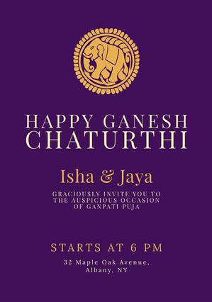 Purple Traditional Ganpati Invitation Ganpati Invitation