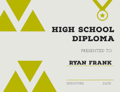 Gold High School Diploma Certificate Back to School