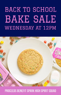 Pink and Purple Bake School Sale Poster Benefit Flyer