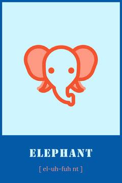 Blue Elephant Animal Flashcard  Kids