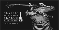 Black and White Rock Music Concert Facebook Ad with Man with Guitar Rock Concert