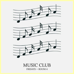 Yellow Musical Sheet Music Club Instagram Square Music