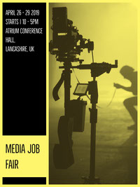 Yellow and Black Media Job Fair Flyer Erhvervsflyer