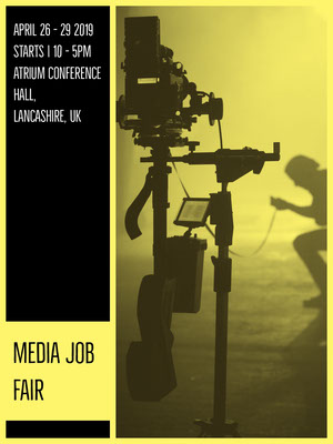 Yellow and Black Media Job Fair Flyer Conference Flyer