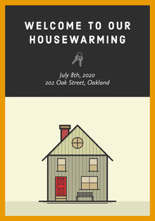 Black and House Graphic Housewarming Party Invitation Invitation