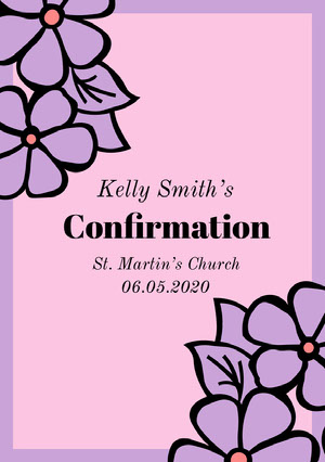 Pink and Purple Confirmation Announcement Card Confirmation Annoucement