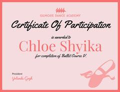 Ballet Certificate of Participation Dance Flyer
