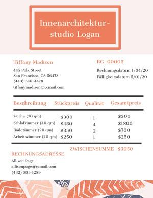 interior design studio invoice  Rechnung