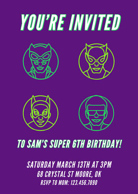 Purple Modern Superhero Invitation  Invitation d'anniversaire