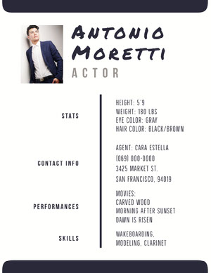 Black and White Professional Resume Acting Resume