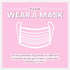 Pink & Grey Border Facemask Icon Instagram Square Border