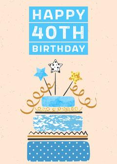 Happy 40th Birthday - 5 x 7 Card Cakes