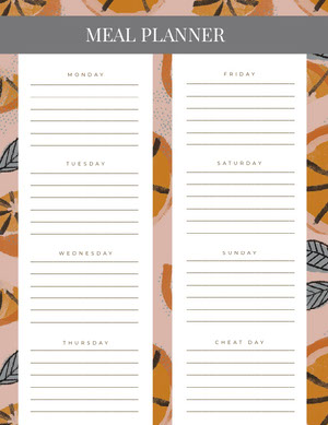 Colorful and White Empty Meal Planner Menu de la semaine