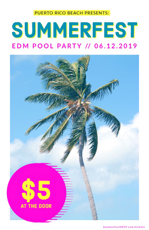 Pool Party Event Flyer with Palm Tree Pool Party Invitation