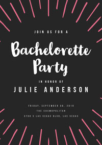 Black and White Bachelorette Party Invitation Festinvitation