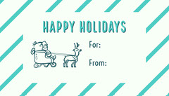 Blue and White, Light Toned Happy Holidays Card  Holiday