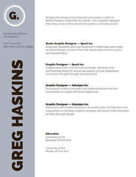 Gray Graphic Designer Resume Creative Resume