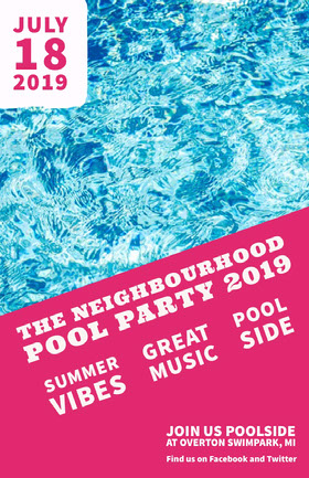 Blue White and Pink Neighbourhood Pool Party Flyer Flyer