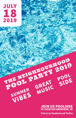 THE  NEIGHBOURHOOD POOL PARTY 2019 Pink Flyers