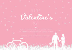 Pink hearts valentine invitation  Bike