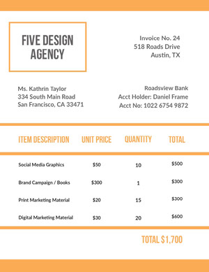 Orange Graphic Design Studio Invoice Faktura