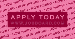 Pink and Red Job Open Position Facebook Post Graphic Now Hiring Flyer