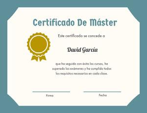 Certificado De Máster Certificado
