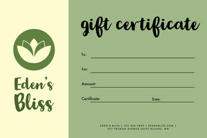 Green Simple Massage Gift Certificate Massage Gift Certificate