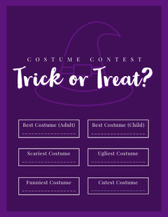 Halloween Trick Or Treat Party Costume Card Halloween Costume Contest