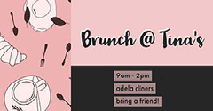 Pink, Grey and White Simple Drawing Style Brunch Tina Restaurant Facebook Banner Brunch