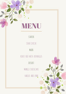 Colorful Flowers and Grey Wedding Menu Menu bruiloft