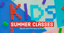 Colorful Elementary School Summer Classes Flyer with Toy Blocks School Posters