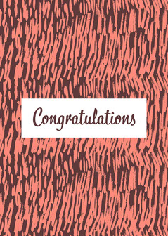 Pink & Brown Pattern Congratulations Card Pattern Design
