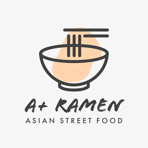 Black Orange and White A+ Ramen Asian Street Food Logo Square Logo Maker for Instagram