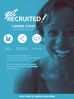 Blue With Smiling Woman Career Poster Job Poster