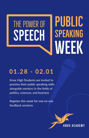 Blue and Orange Public Speaking Event Poster Pôster de evento