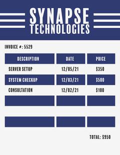 Blue Simple Synapse Technologies Invoice Letter Tech