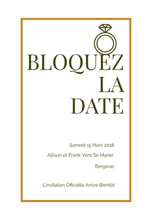 gold and brown save the date card  Annonce de mariage