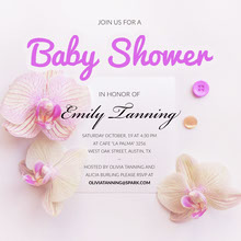Pink Baby Shower Invitation with Flowers Convite