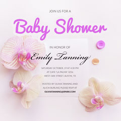 Pink Baby Shower Invitation with Flowers Baby Shower (Girl)