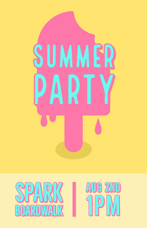 Pink and Yellow Summer Party Flyer with Ice Cream Partyflyer