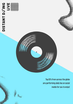 Blue and White Vinyl Record Illustration DJ Online Event Flyer Live Music Flyer