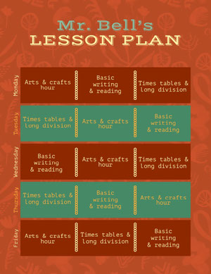 Orange and Turquoise Weekly Primary School Lesson Plan Plano de aula