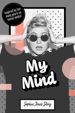 Black White Pink My Mind Biography Collage Book Cover Social Media Flyer