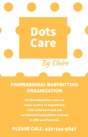 Dots<BR>Care  Babysitting Flyer
