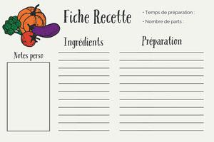 Multicolour Vegetable Recipe Card Landscape  Fiche de recette