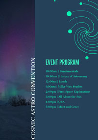 Blue and Geen Event Program Arrangementsprogram