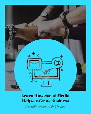 Cyan Social Media Online Seminar Ad with Computer Illustration Advertisement Flyer