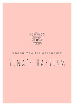 Black and Pink Thank You Card Baptism Thank You Card